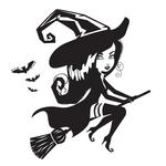 Переводная наклейка «Ведьма на метле»