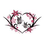 Переводная наклейка «Сердце с бабочками и цветами»