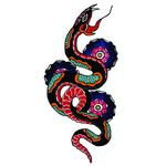 """Переводная татуировка """"Змея в стиле олд скул"""""""
