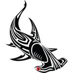 """Переводная татуировка """"Рыба молот"""""""