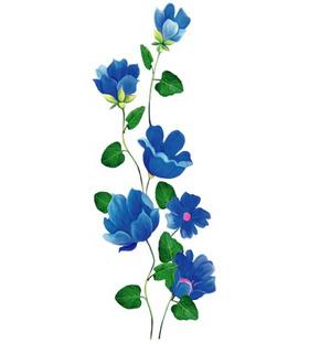"""Переводная татуировка """"Синие цветы"""""""