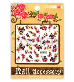 """Водная наклейка для ногтей """"Бабочки и цветы"""""""